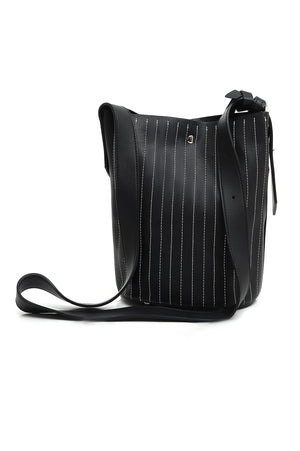 PINSTRIPE BUCKET BAG-BLACK