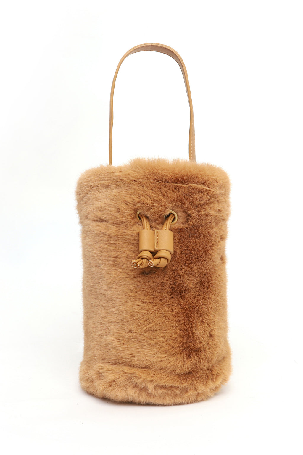 FUR SLING POUCH-BROWN