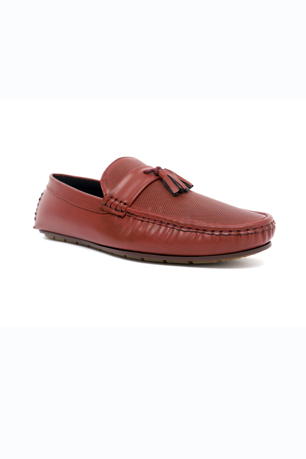 TEXTURED TASSEL LOAFERS-MAROON
