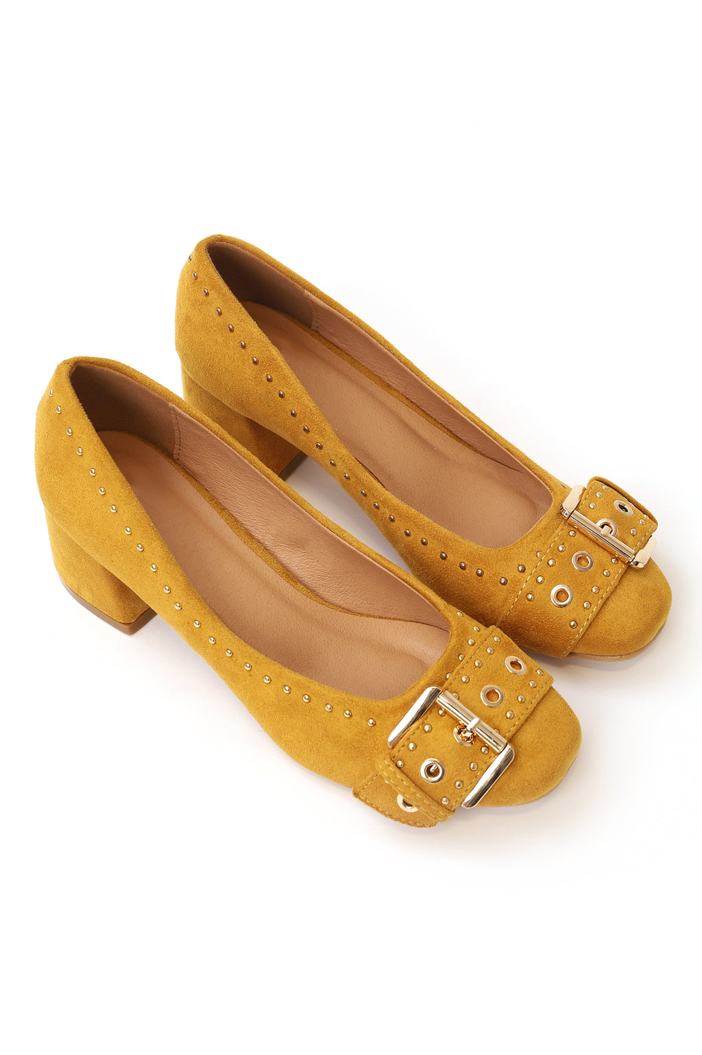 BUCKLED COURT SHOES-YELLOW