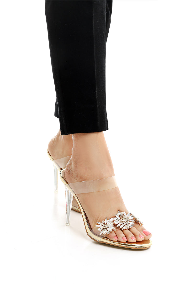 JEWELED STILETTOS-GOLD