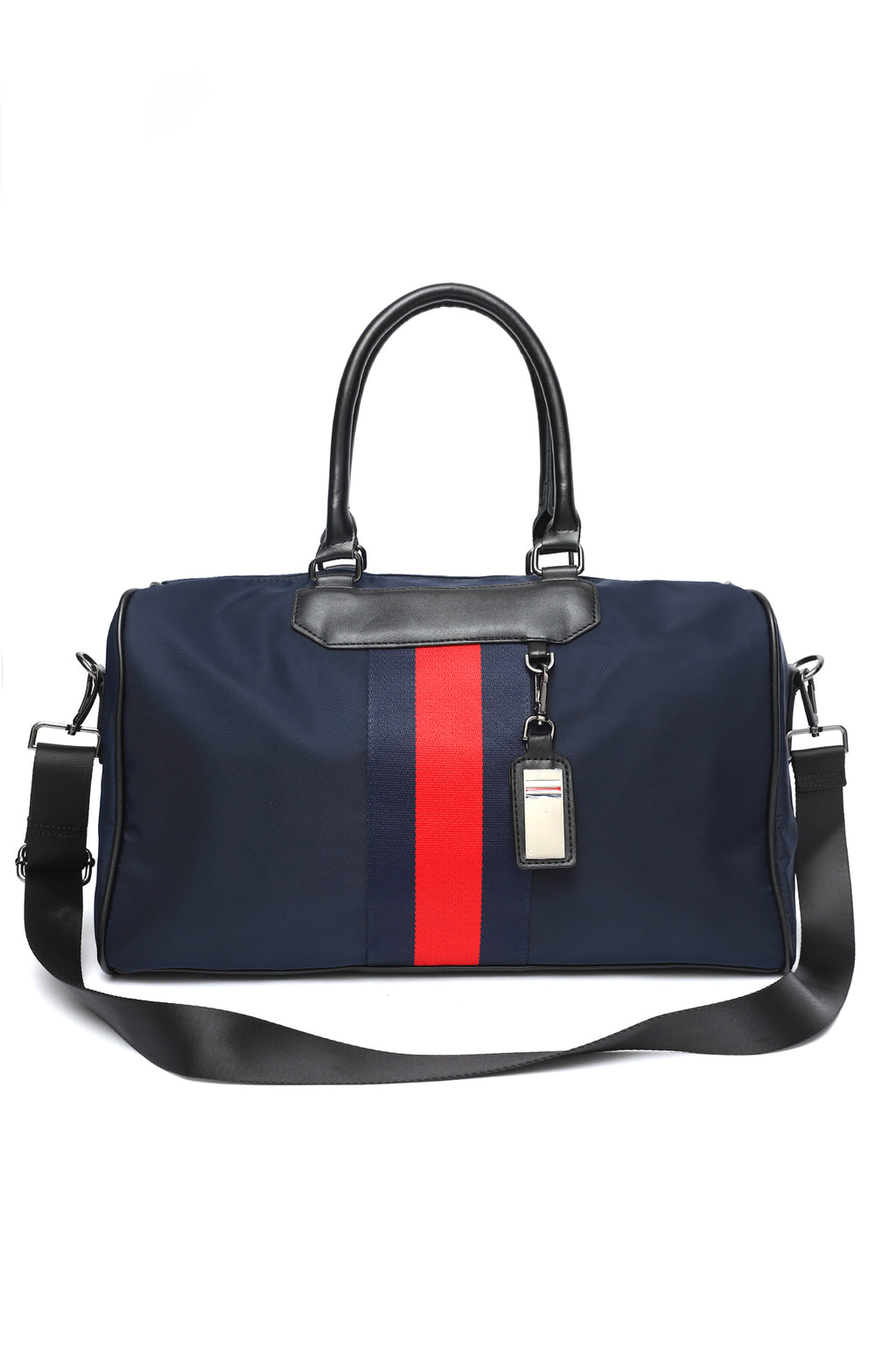 STRIPPED SUFFLE BAG-BLUE-RED