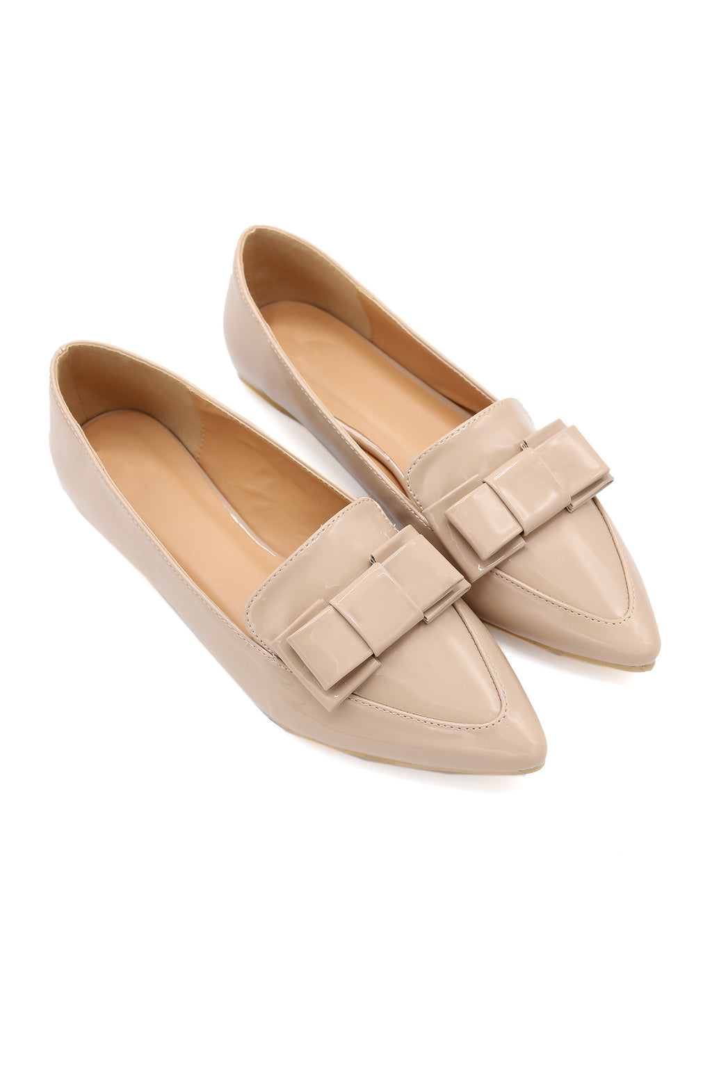 PATENT BOW PUMPS-BEIGE