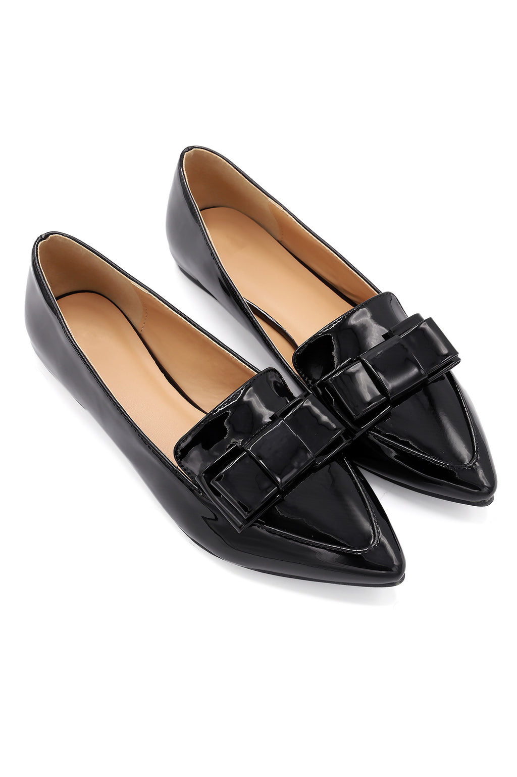 PATENT BOW PUMPS-BLACK