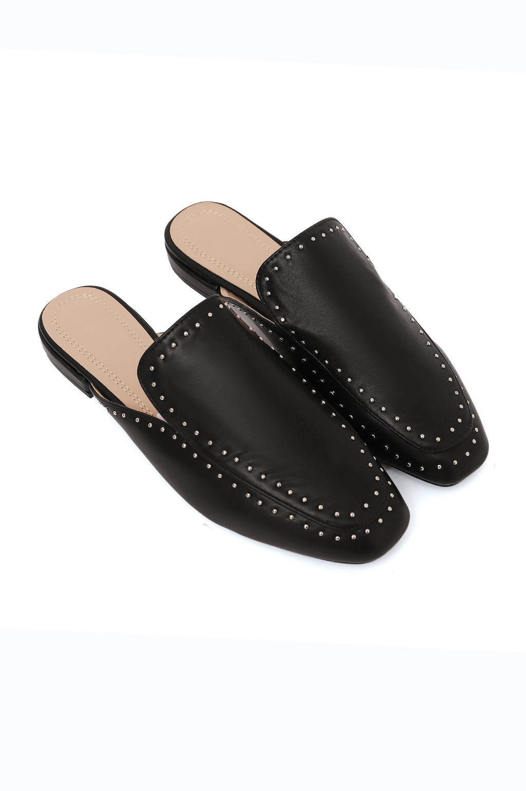 STUDDED MULES-BLACK