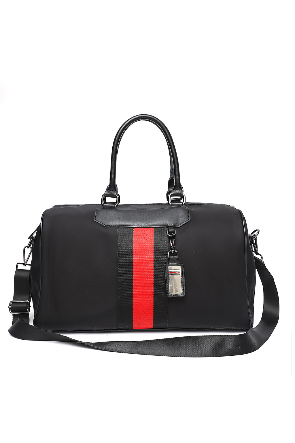 STRIPPED SUFFLE BAG-BLACK-RED