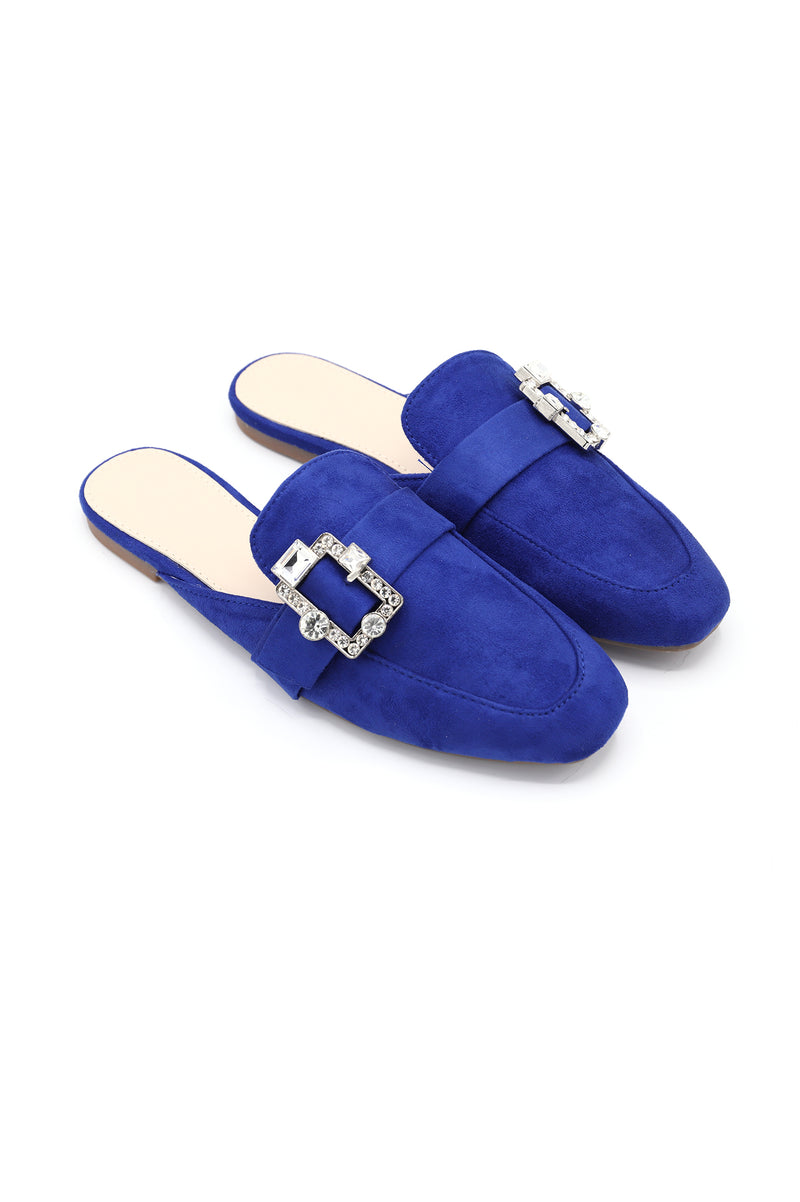 DIAMANTE BUCKLE MULES-BLUE