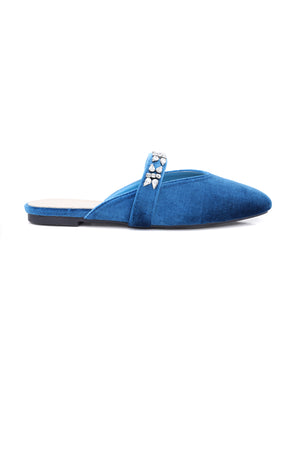 DIAMANTE SUEDE MULES-BLUE