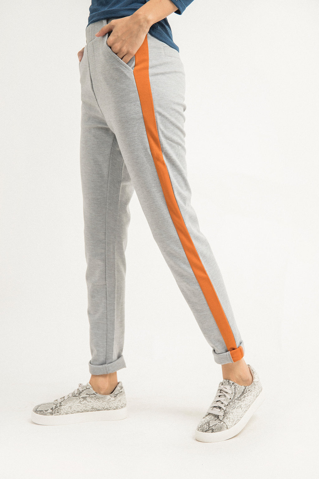 STRIPE SPORT PANTS-GREY