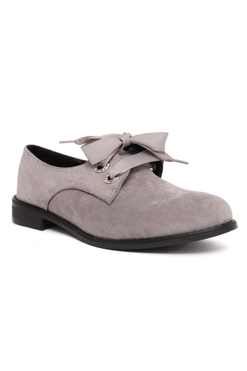 LACE UP FLATS -GREY