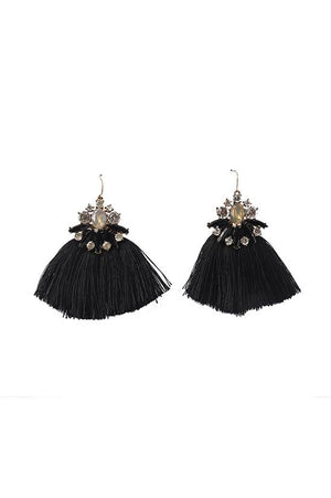 FRINGE EARRINGS-BLACK