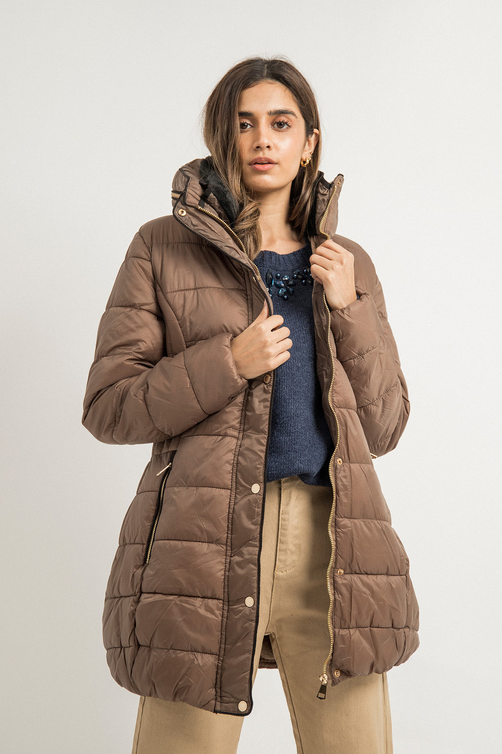 LUXE PADDED COAT-KHAKI