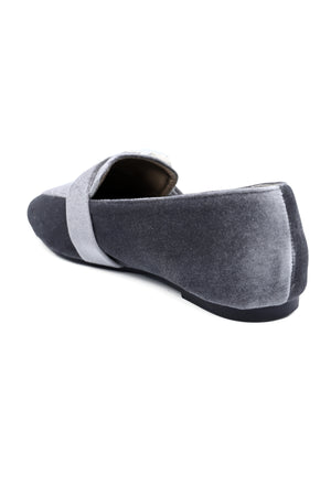 EMBELLISHED LOAFERS-GREY