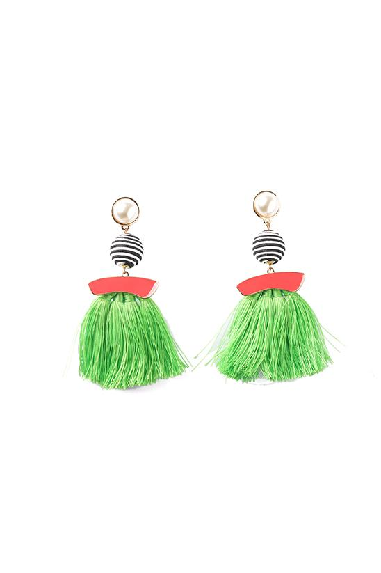 FRINGE EARRINGS-GREEN