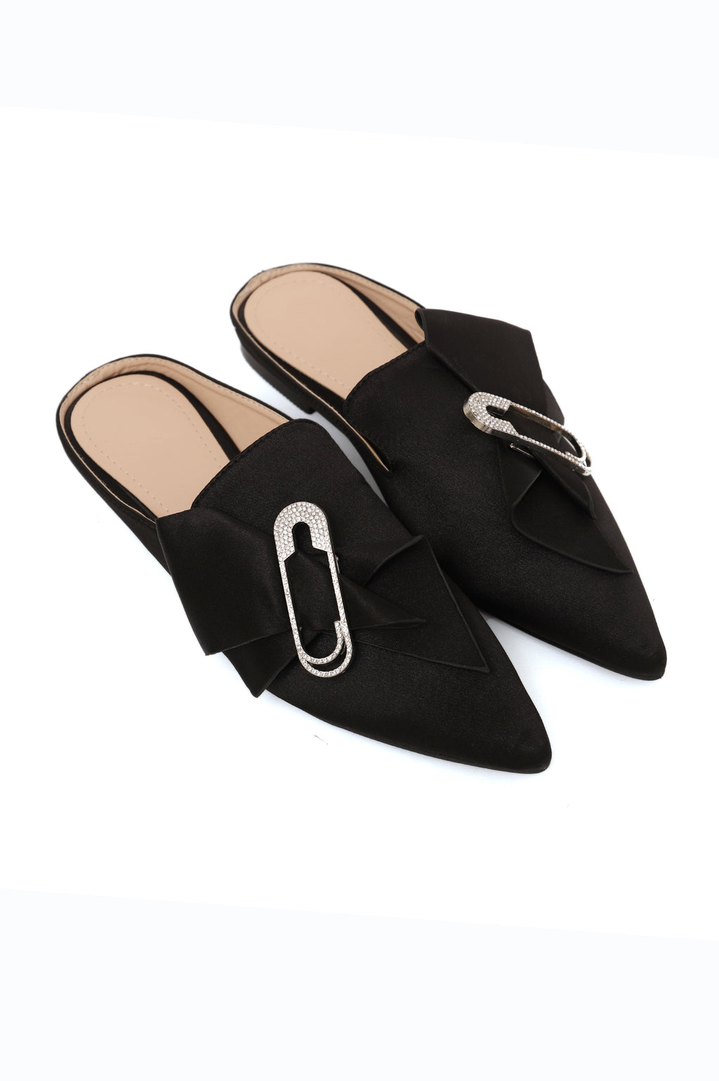BLING BOW MULES-BLACK