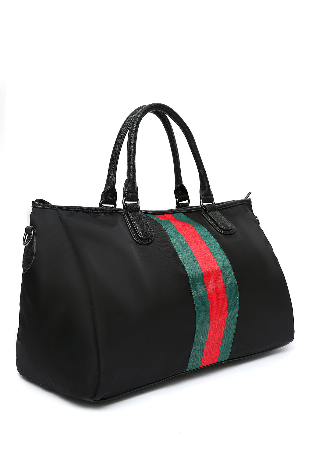 SPORTS STRIPE DUFFLE-BLACK-GREEN-RED