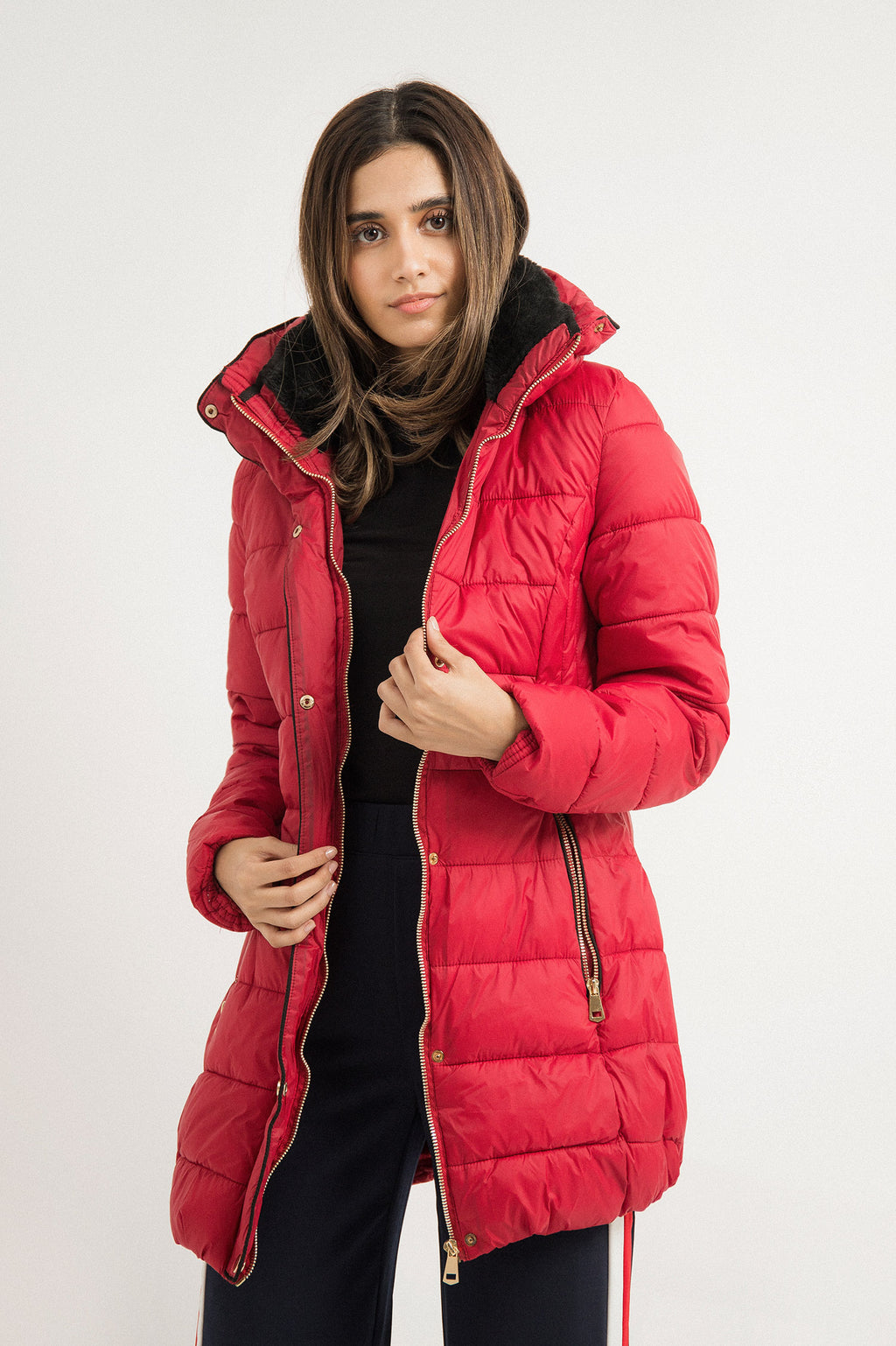 LUXE PADDED COAT-RED