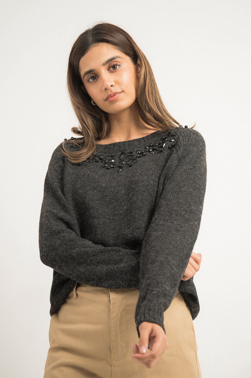 CRYSTAL SWEATER-BLACK