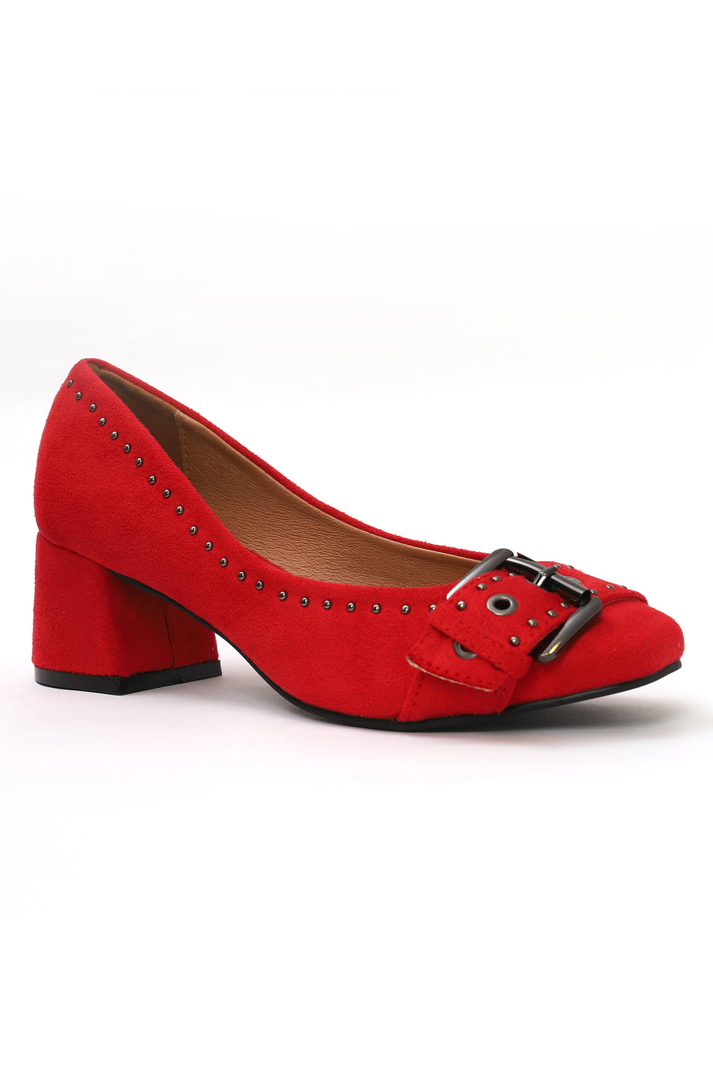 BUCKLED COURT SHOES-MAROON