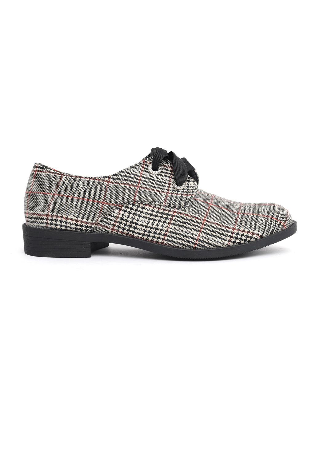 CHECKERED LACE UPS-BLACK