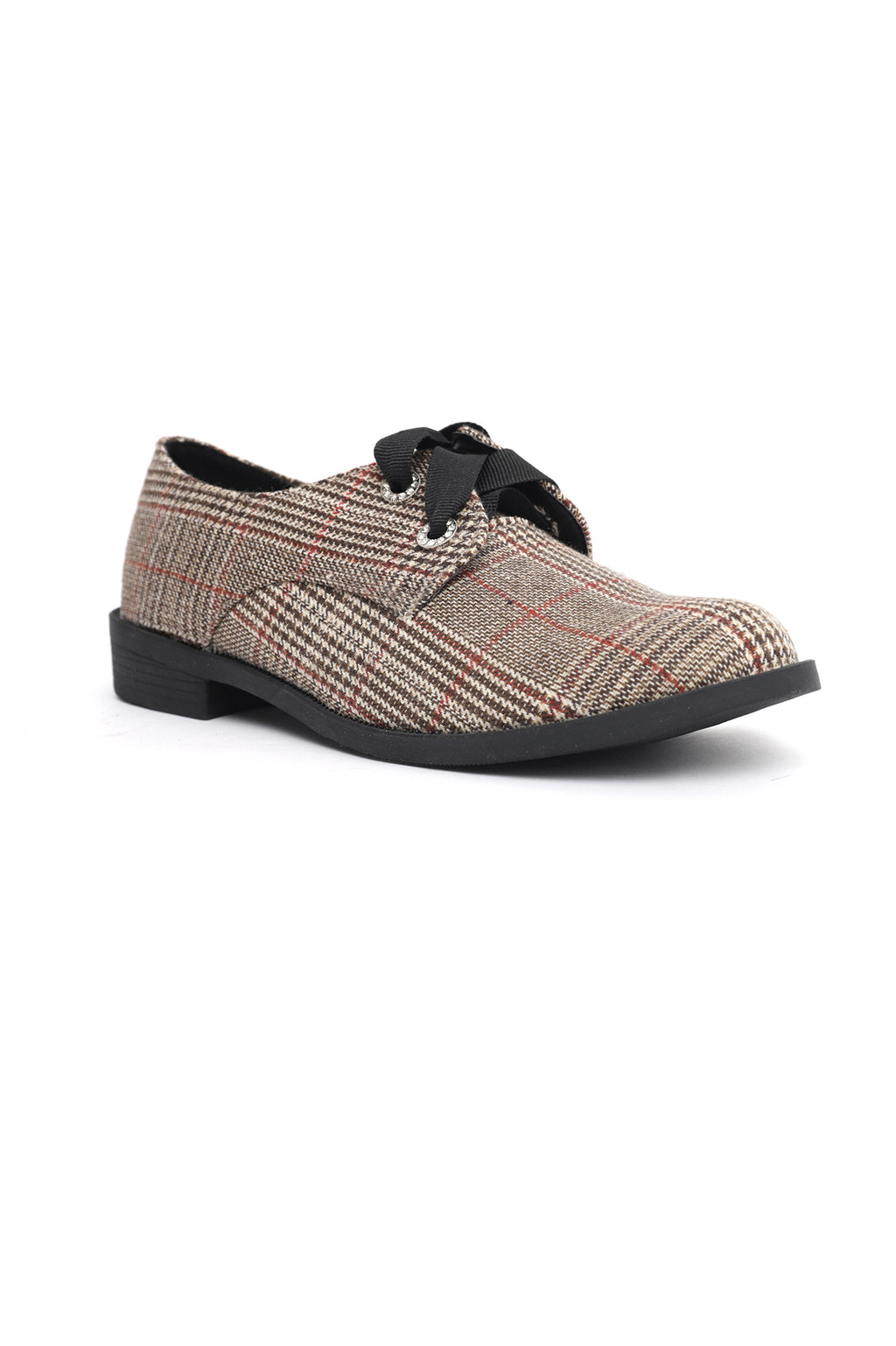 CHECKERED LACE UPS-BROWN