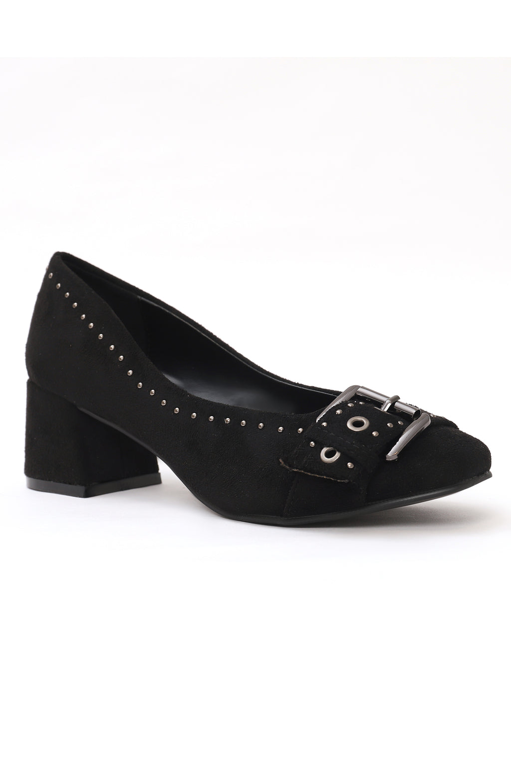 BUCKLED COURT SHOES-BLACK
