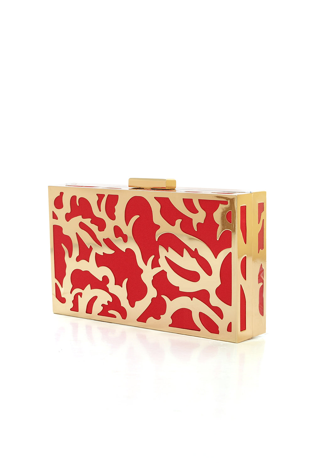 ABSTRACT FRAME CLUTCH-RED