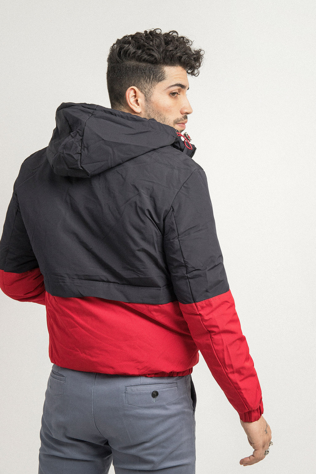 CONTRAST JACKET -BLUE/RED