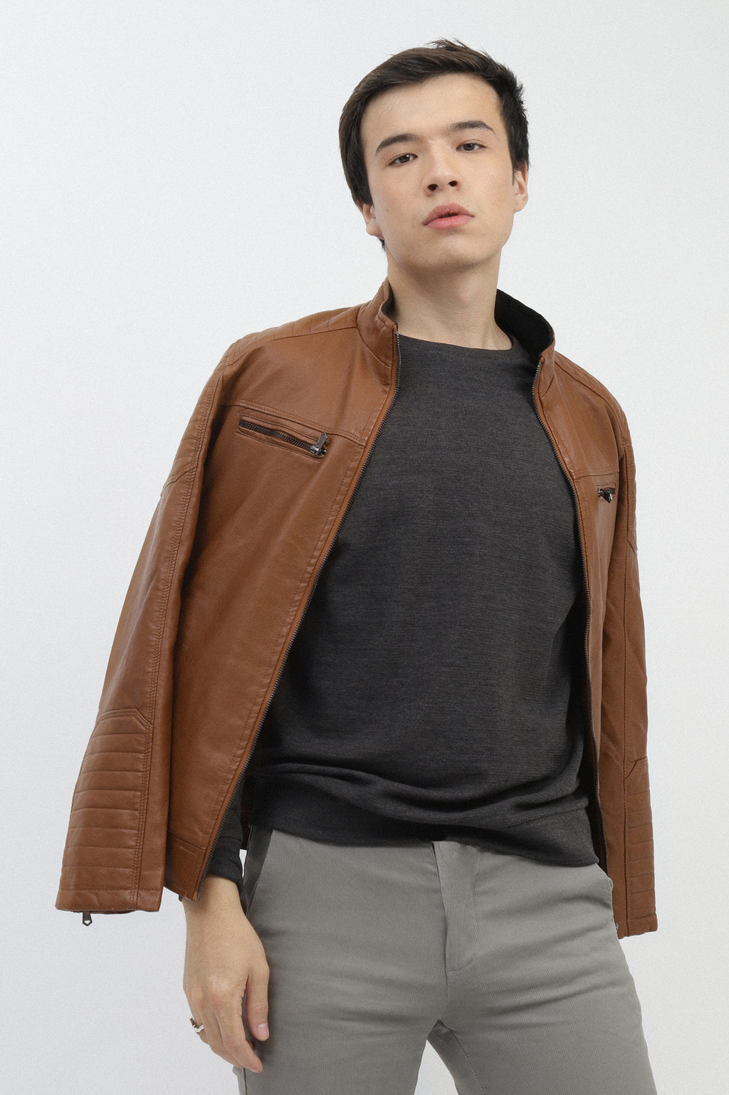 LEATHER JACKET-BROWN