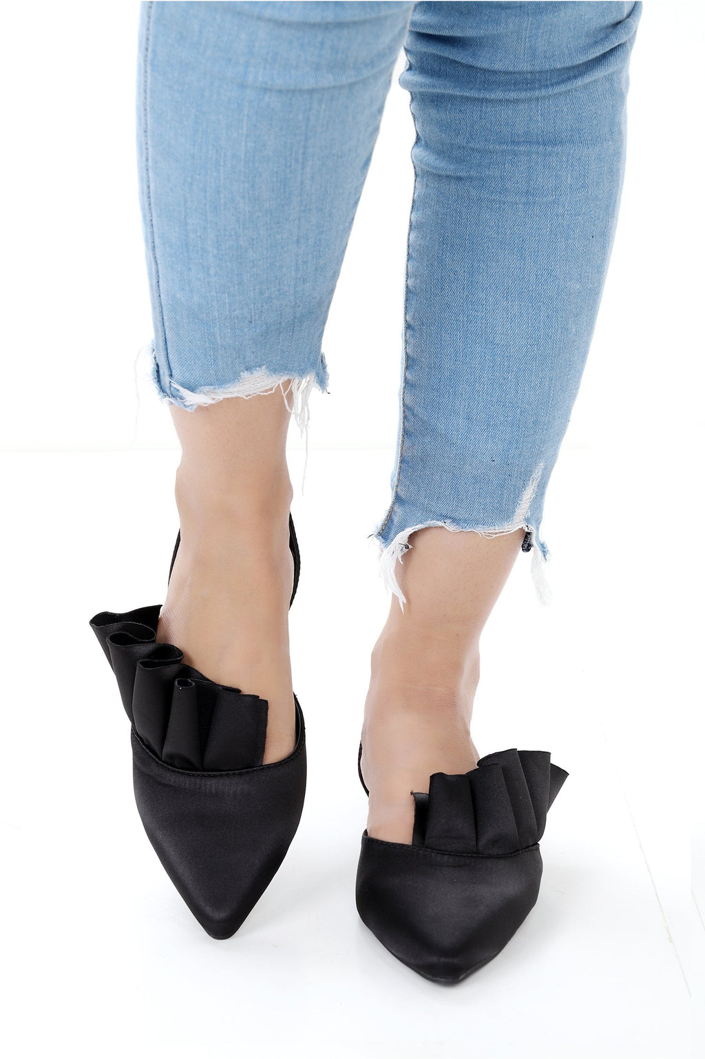 SATIN SLING BACK-BLACK