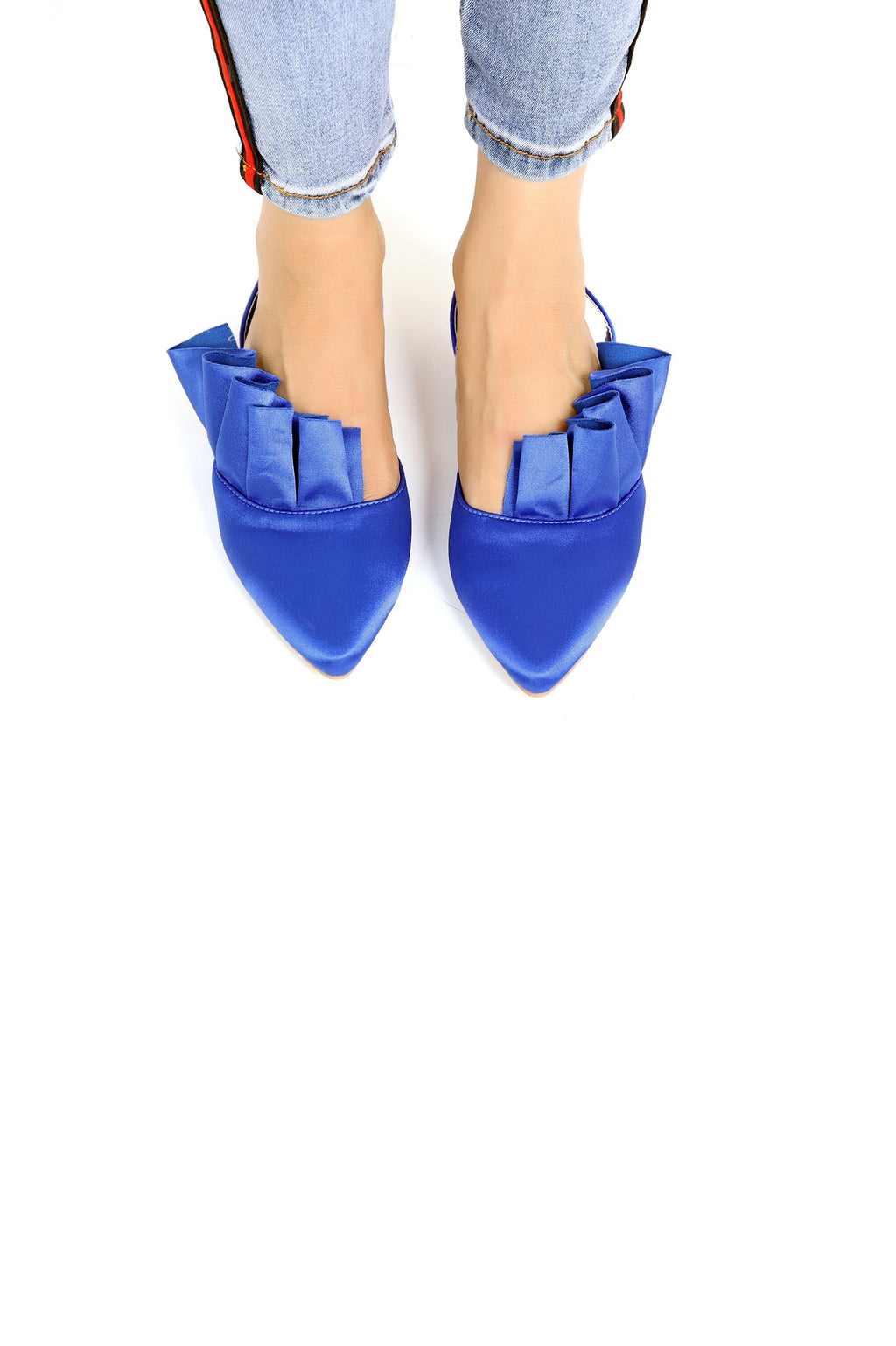 SATIN SLING BACK-BLUE
