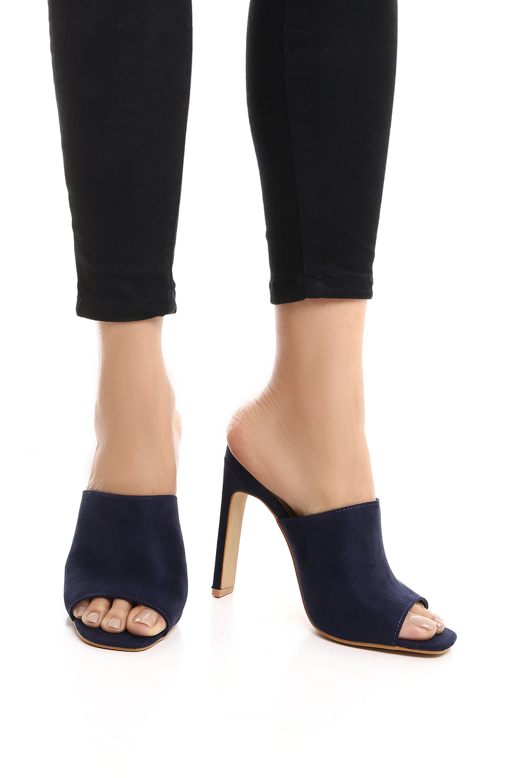 SUEDE MULES-NAVY