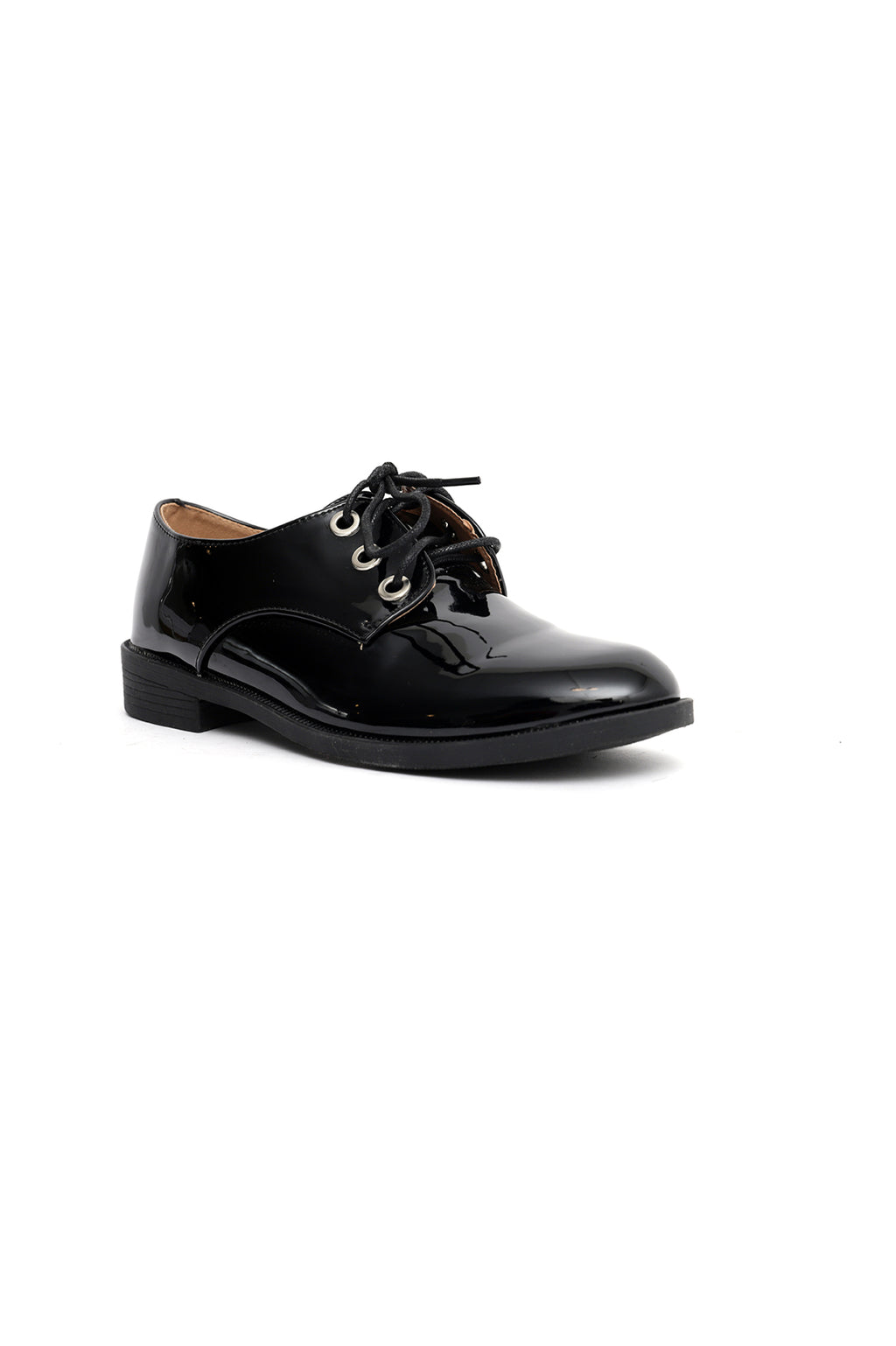 PATENT LACE UPS -BLACK