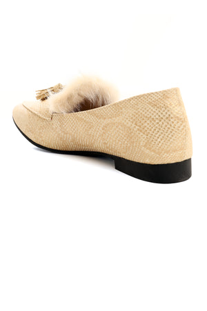 TEXTURED COURT SHOES-BEIGE