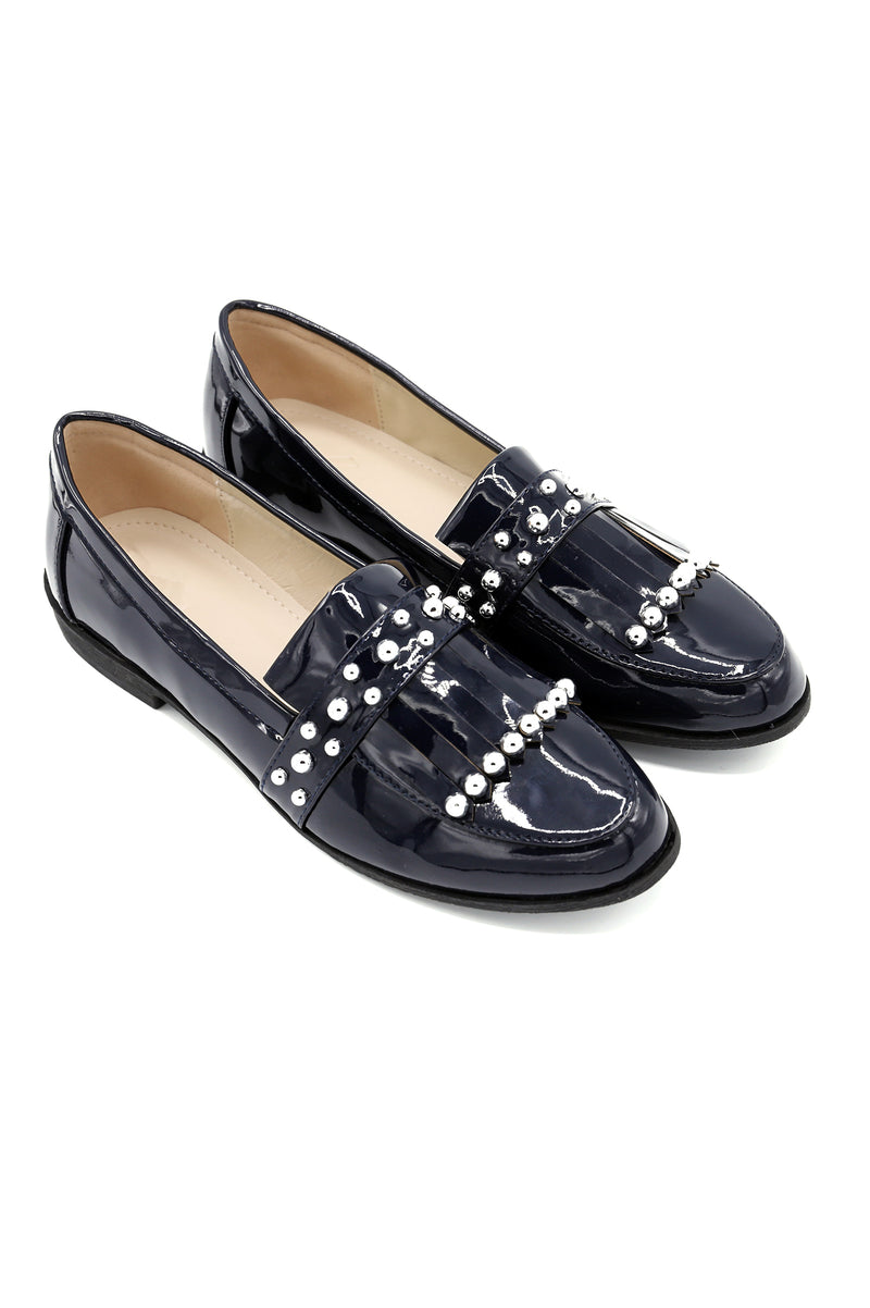 PATENT FRINGE LOAFERS-NAVY