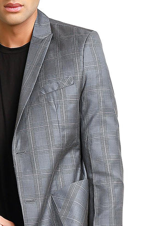 DOUBLE BREASTED PLAID BLAZER-GREY