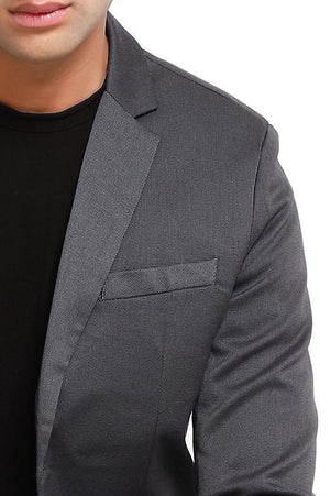 DOUBLE BREASTED PLAID BLAZER-SHADOW GREY