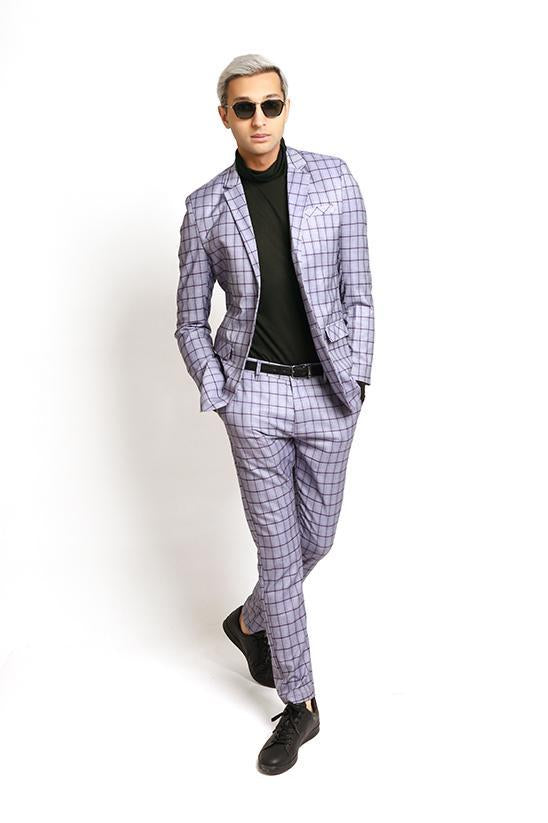 PLAID BLAZER-GREY MAUVE