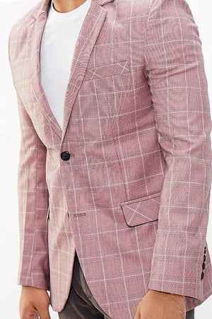 RUBY CHECKERED BLAZER-LIGHT RED