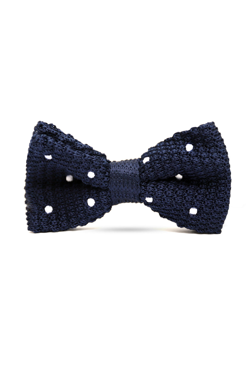 DOTTED KNIT BOW TIE-NAVY