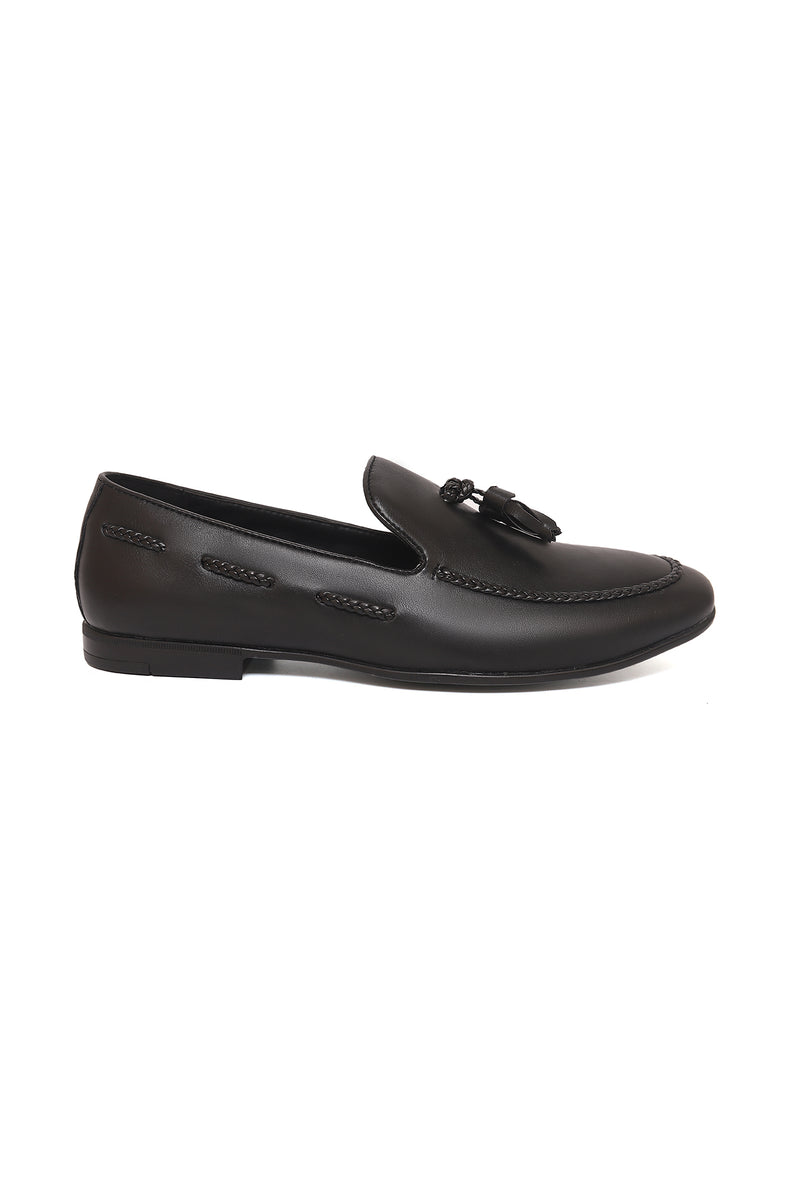 BRAIDED TASSEL SLIP-ONS-BLACK
