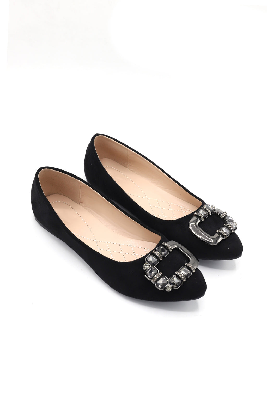 CRYSTAL BROOCH PUMPS -BLACK