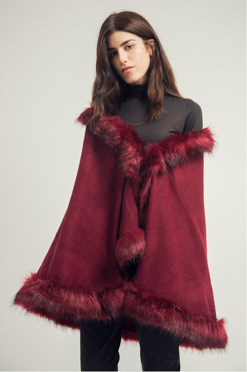 FUR CAPE-MAROON