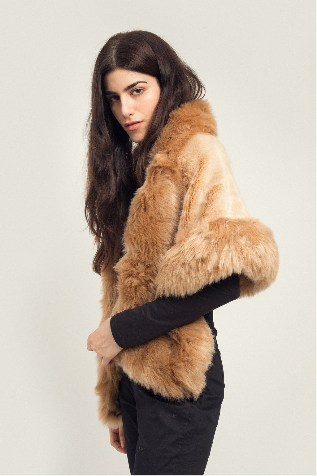 FUR WRAP AROUND -BEIGE