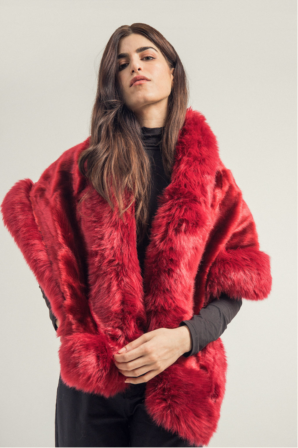 FUR WRAP AROUND-MAROON