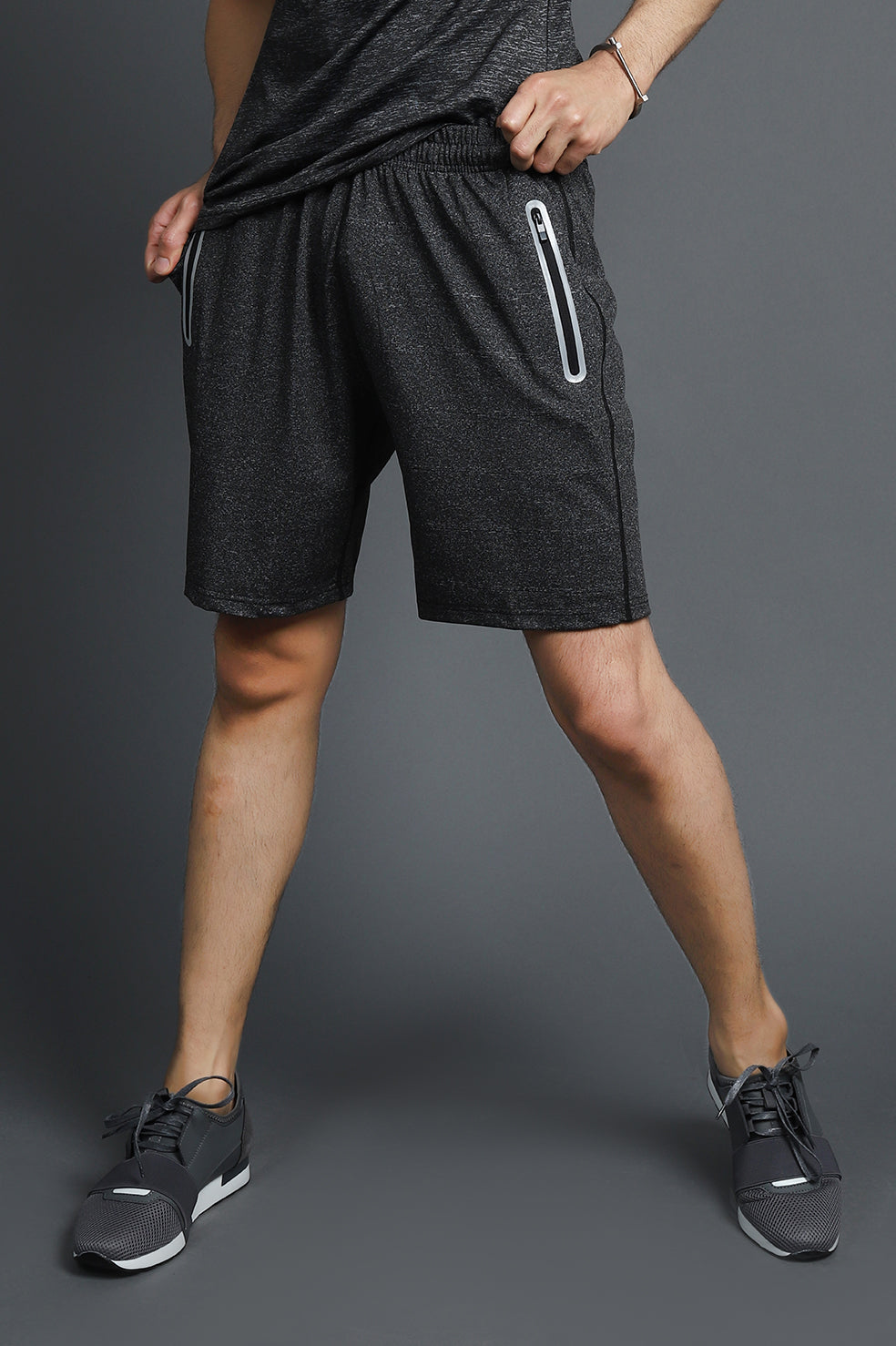MELANGE SPORTS SHORTS-DARK-GREY