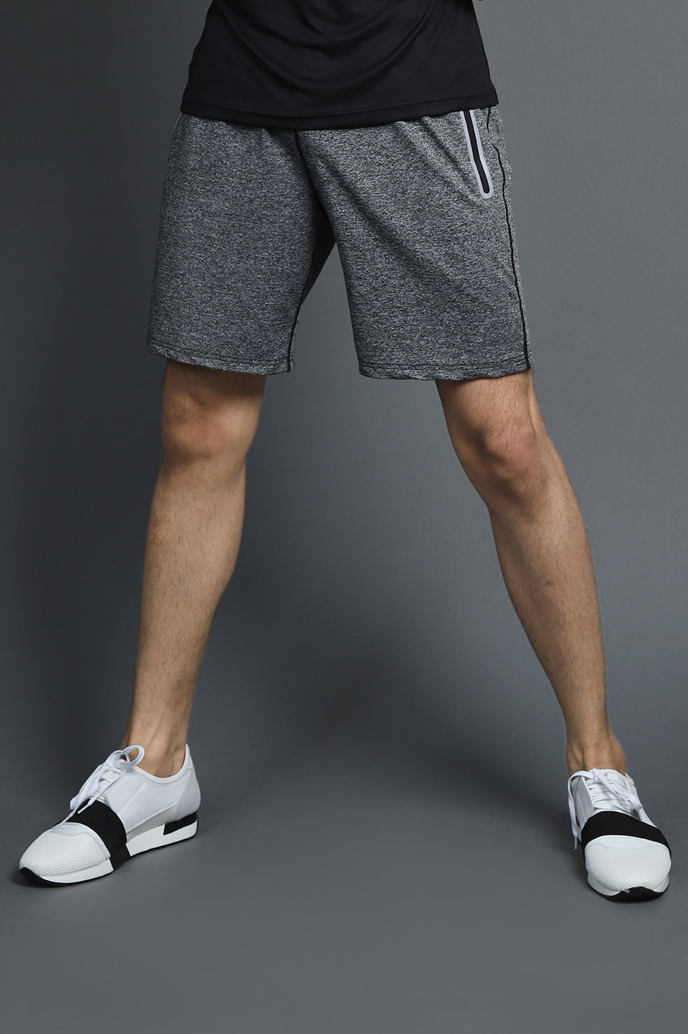 MELANGE SPORTS SHORTS-LT GREY