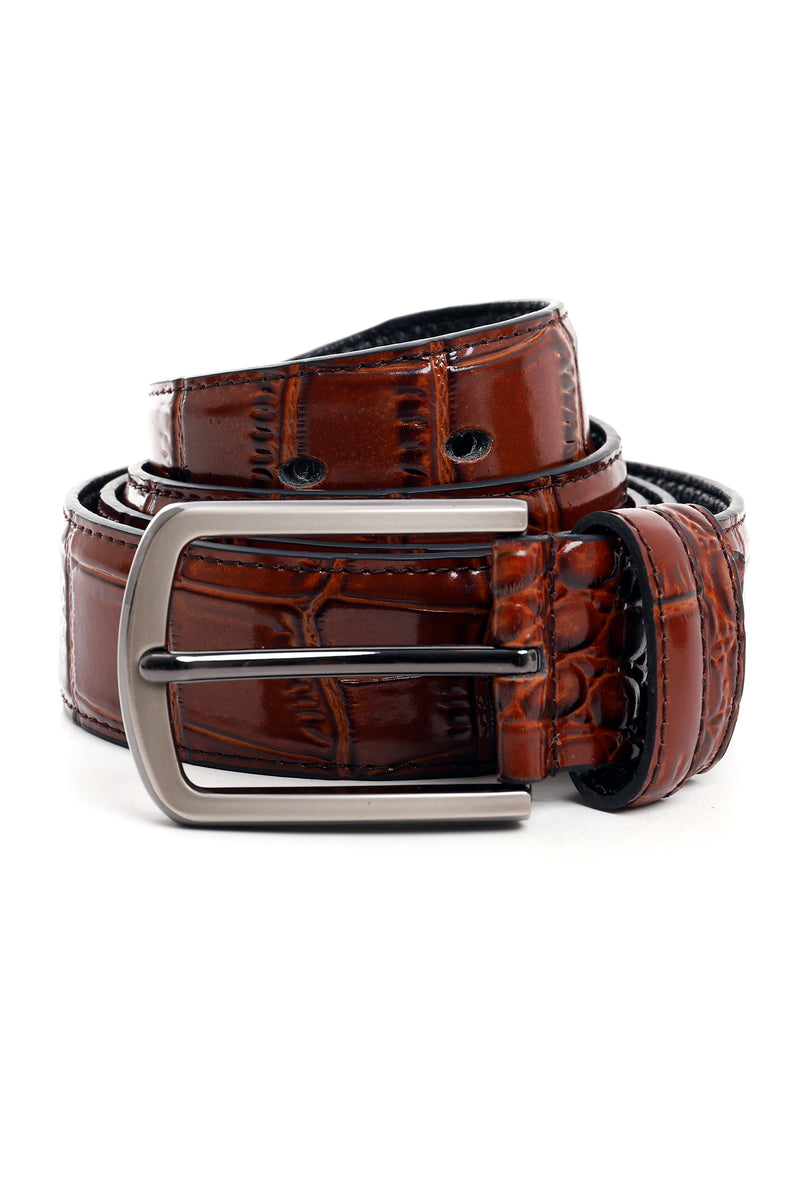 CROC SKIN BELT-BROWN