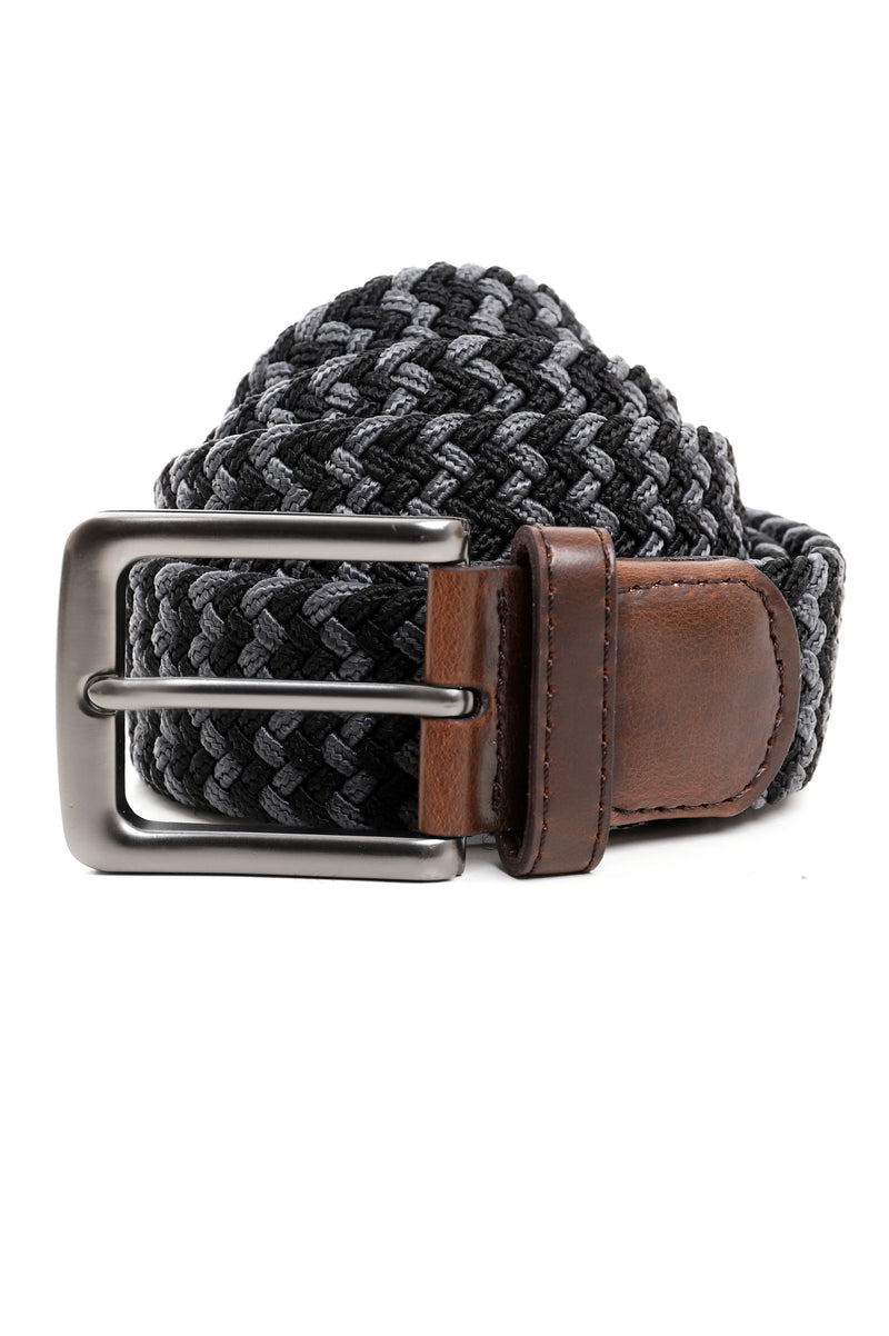 TWO TONE WEAVE BELT-BLACK-GREY