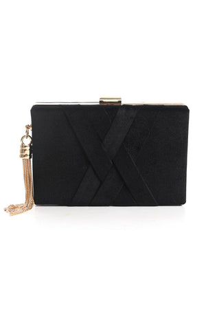 SATIN WOVEN BAND CLUTCH-BLACK